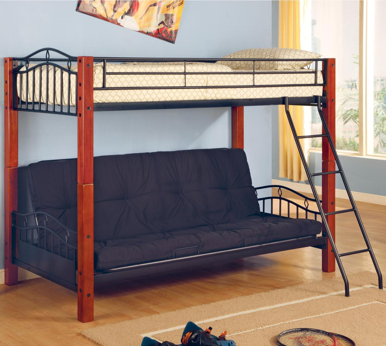 Image of: Wood And Metal Futon Bunk Bed