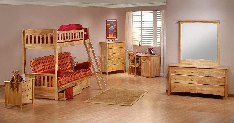 Image of: Wood Bunk Bed with Futon