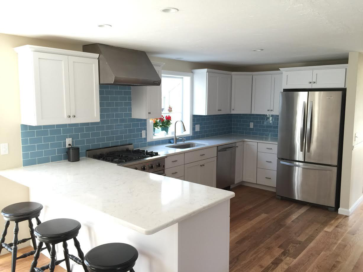 Image of: blue glass backsplash tile
