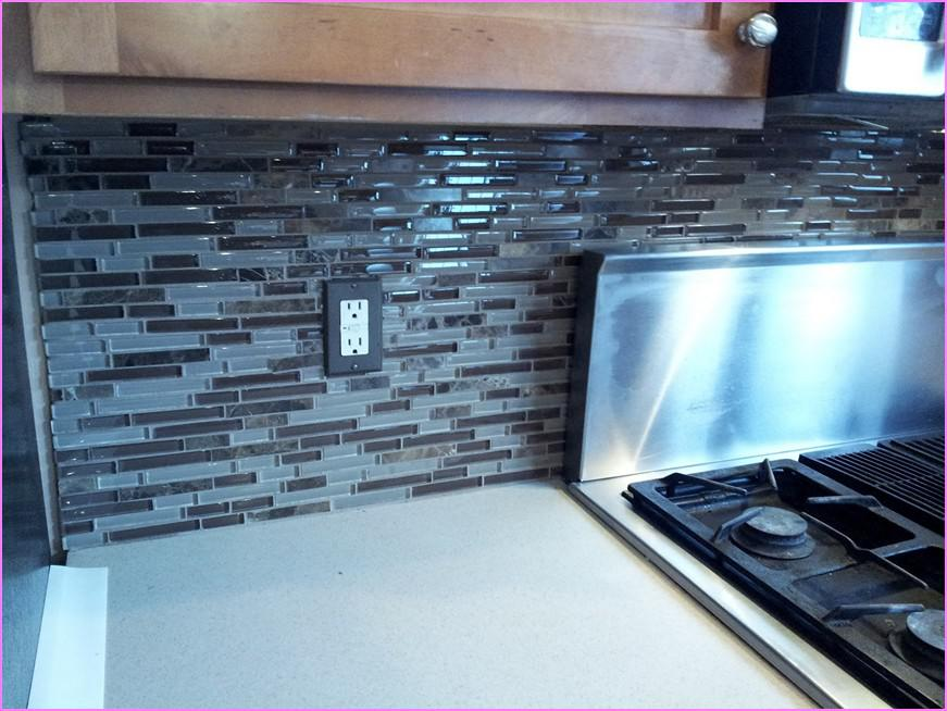 Image of: blue glass tile kitchen backsplash
