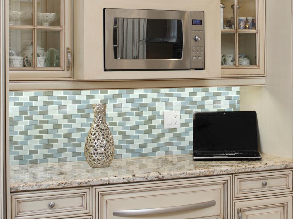 Image of: blue green glass tile backsplash