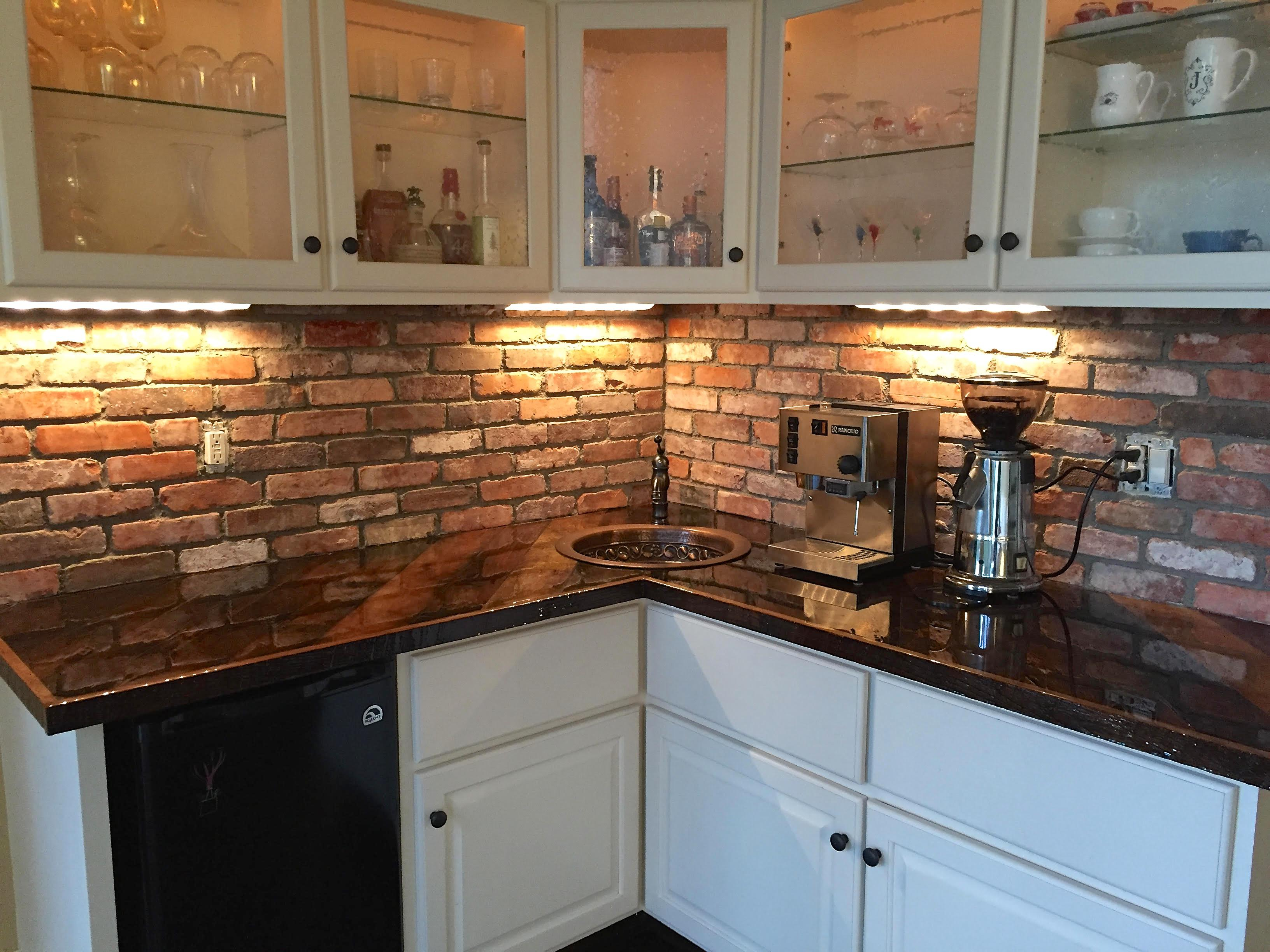 Image of: brick subway tile backsplash