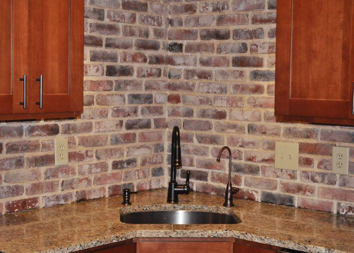 Image of: brick tile kitchen backsplash