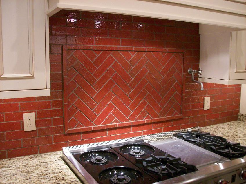 Image of: brick tiles for backsplash in kitchen