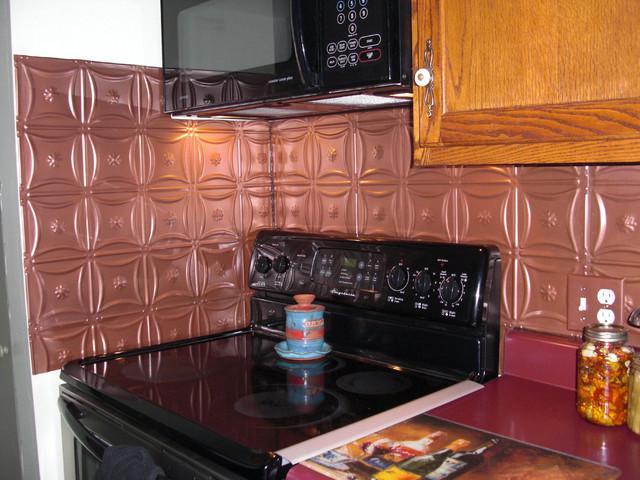 Image of: copper backsplash modern