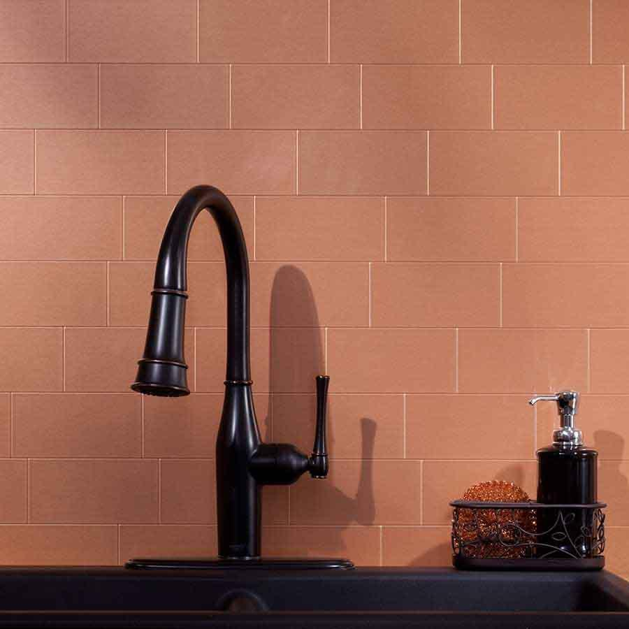 Image of: copper backsplash tile