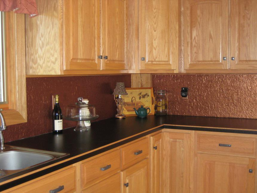 Image of: copper glass tile backsplash