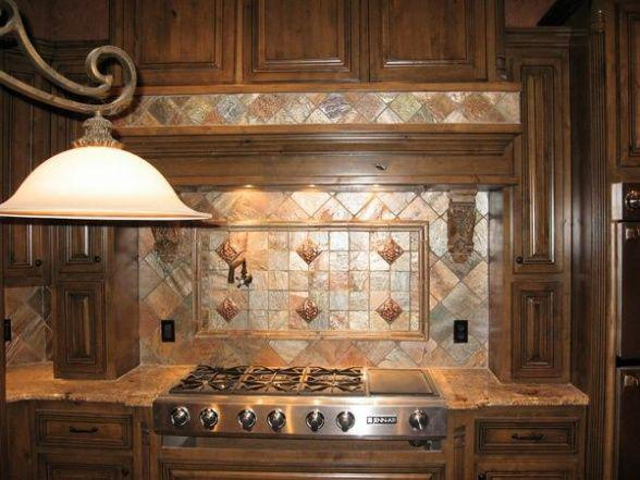 Image of: copper penny tile backsplash