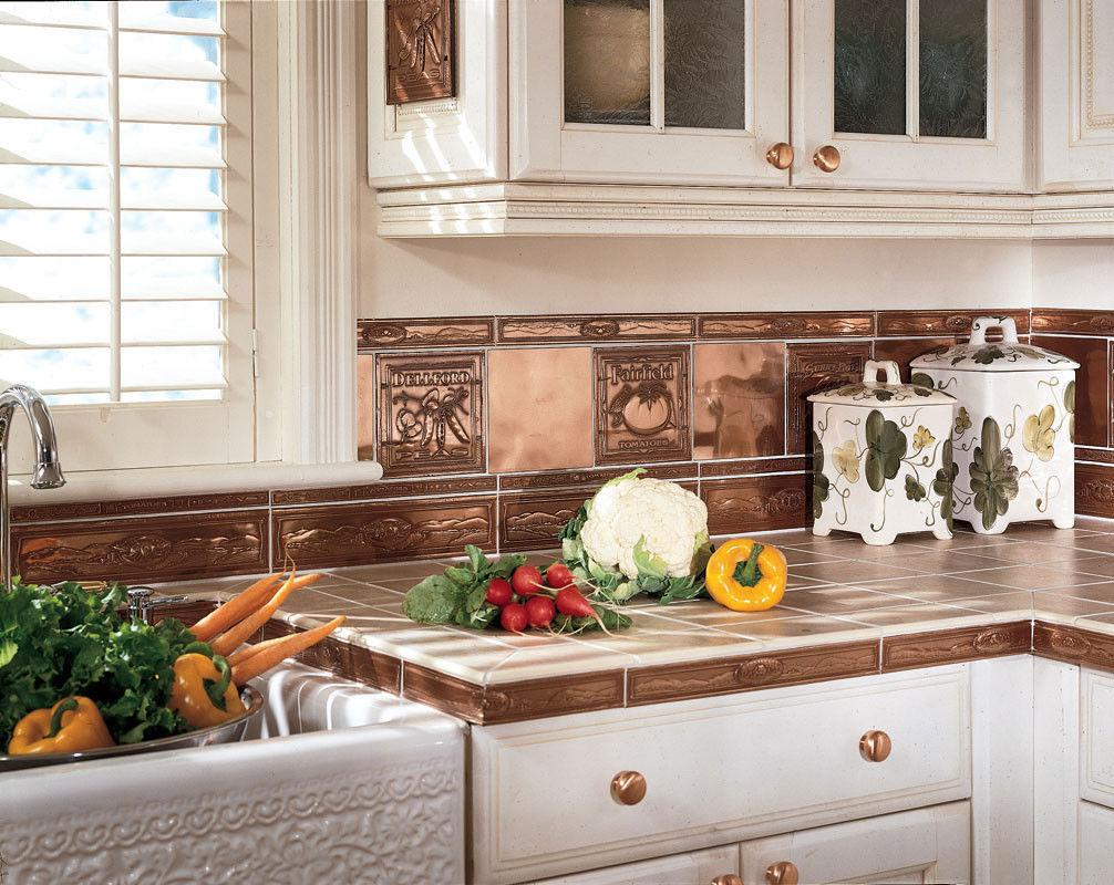 Image of: copper subway tile backsplash