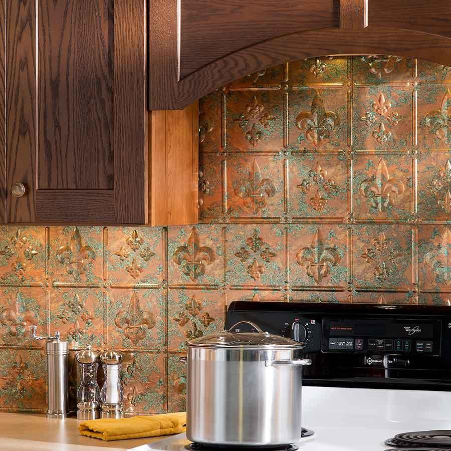 Image of: copper tiles backsplash