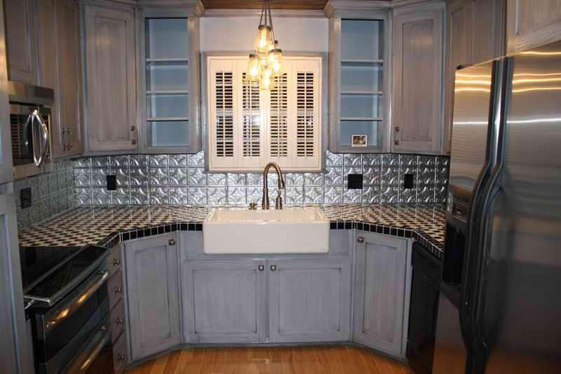 Image of: faux tin tiles for kitchen backsplash