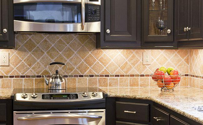 Image of: glass subway tiles backsplash