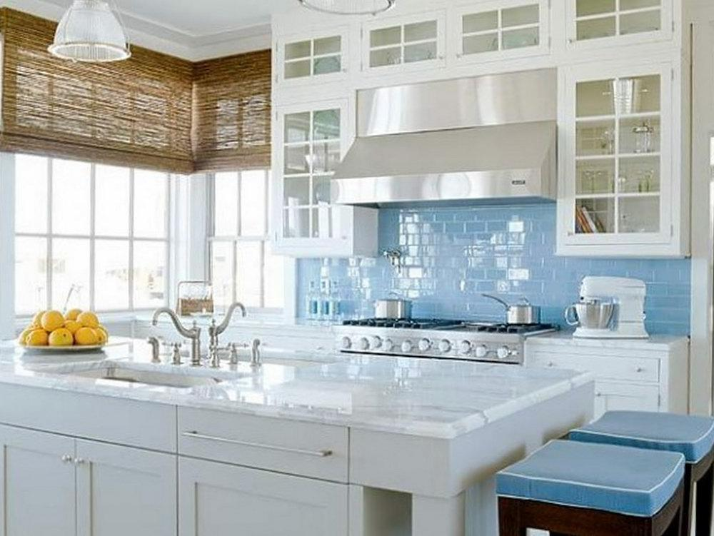 Image of: glass tile backsplash blue