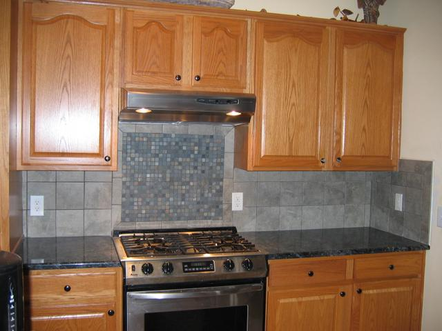 Image of: gray tile backsplash