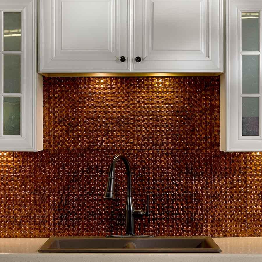 Image of: hammered copper tile backsplash