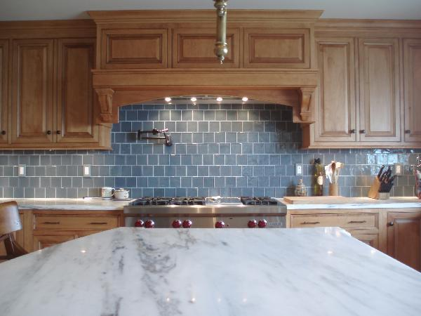 Image of: light blue glass tile backsplash