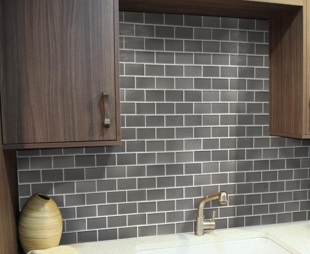 Image of: peel and stick backsplash glass tiles