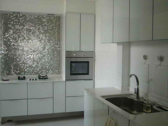 Image of: Peel and Stick Glass Tile Backsplash Stainless Steel