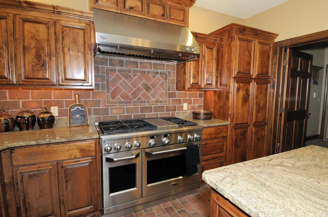 Image of: red brick tile backsplash