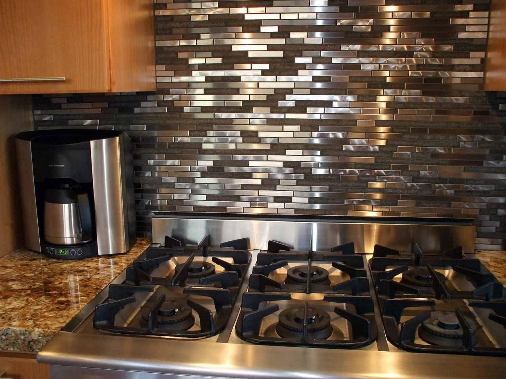 Image of: stainless steel mosaic backsplash tiles