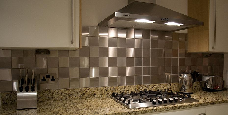 Image of: stainless steel tiles backsplash