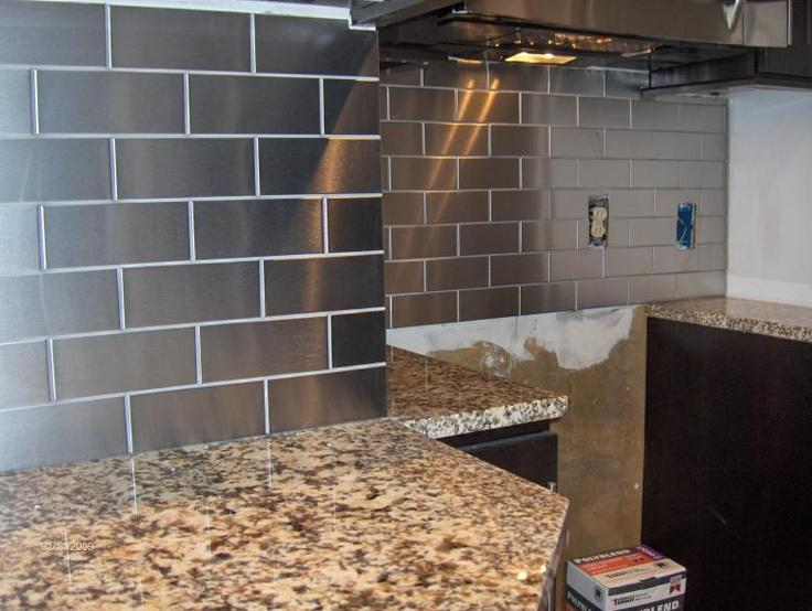 Image of: stainless steel tiles for backsplash