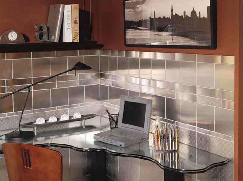 Image of: stainless steel wall tiles backsplash