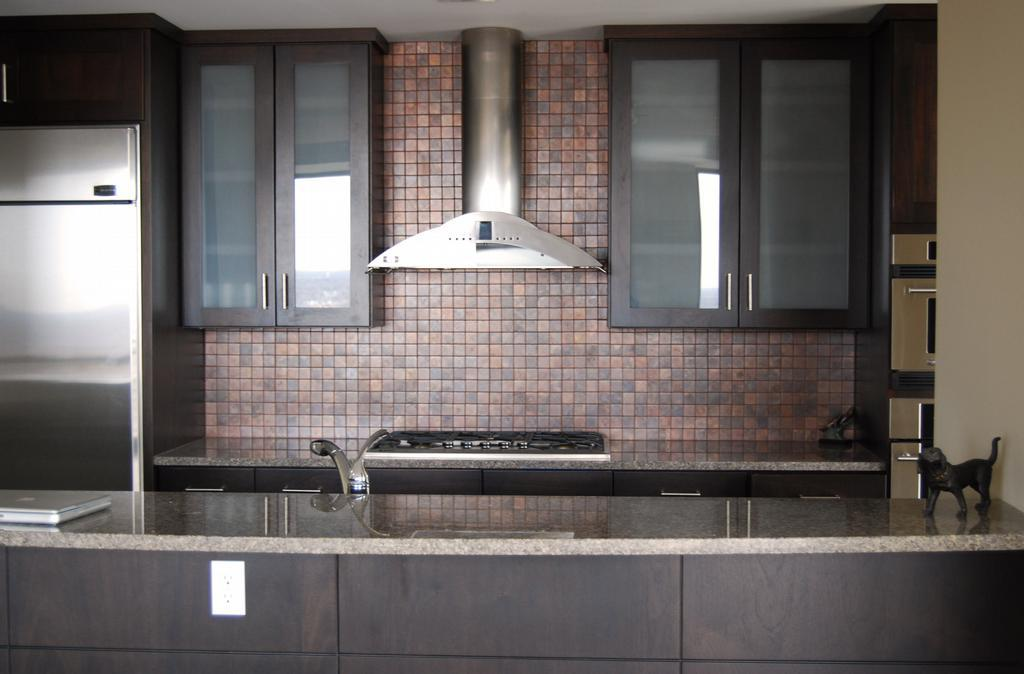 Image of: stick on copper backsplash tiles