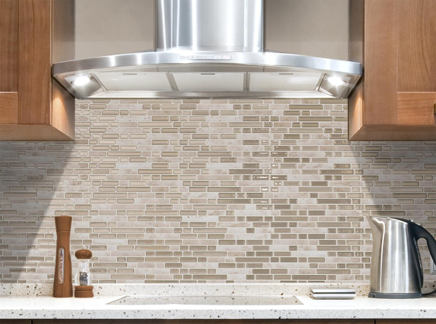 Image of: stick on glass tile backsplash