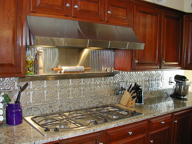 Image of: Silver Tin Tiles Backsplash Ideas