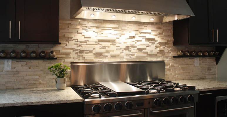 Image of: tumbled marble tile backsplash