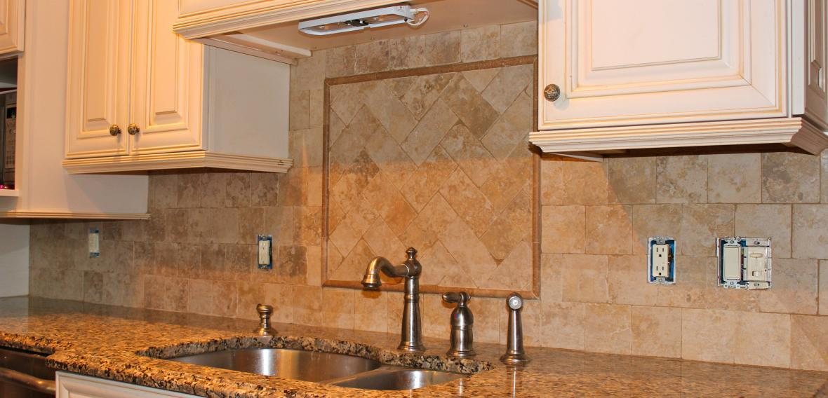 Image of: tumbled stone backsplash tile