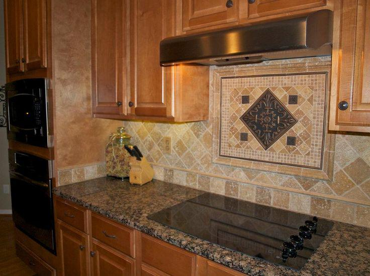 Image of: Decorative Tumbled Travertine Subway Tile Backsplash