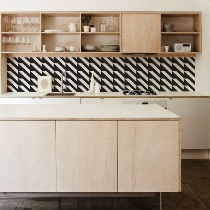 Image of: Black and White Wallpaper for Kitchen Backsplash Ideas