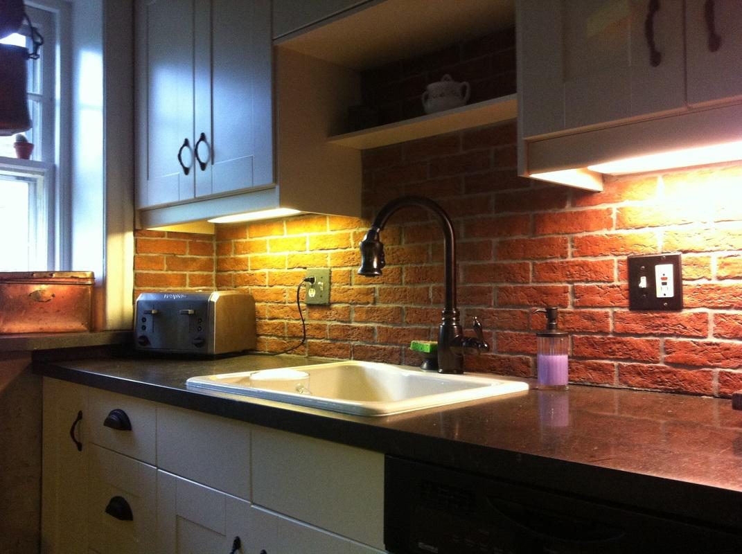 Image of: white brick tile backsplash