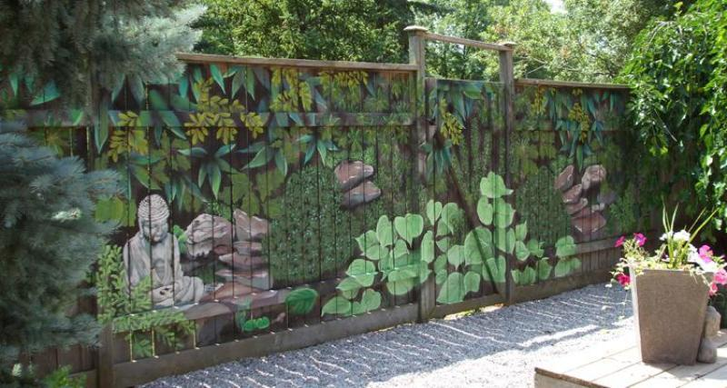 Image of: Decorative Garden Fencing Ideas Mural Painting