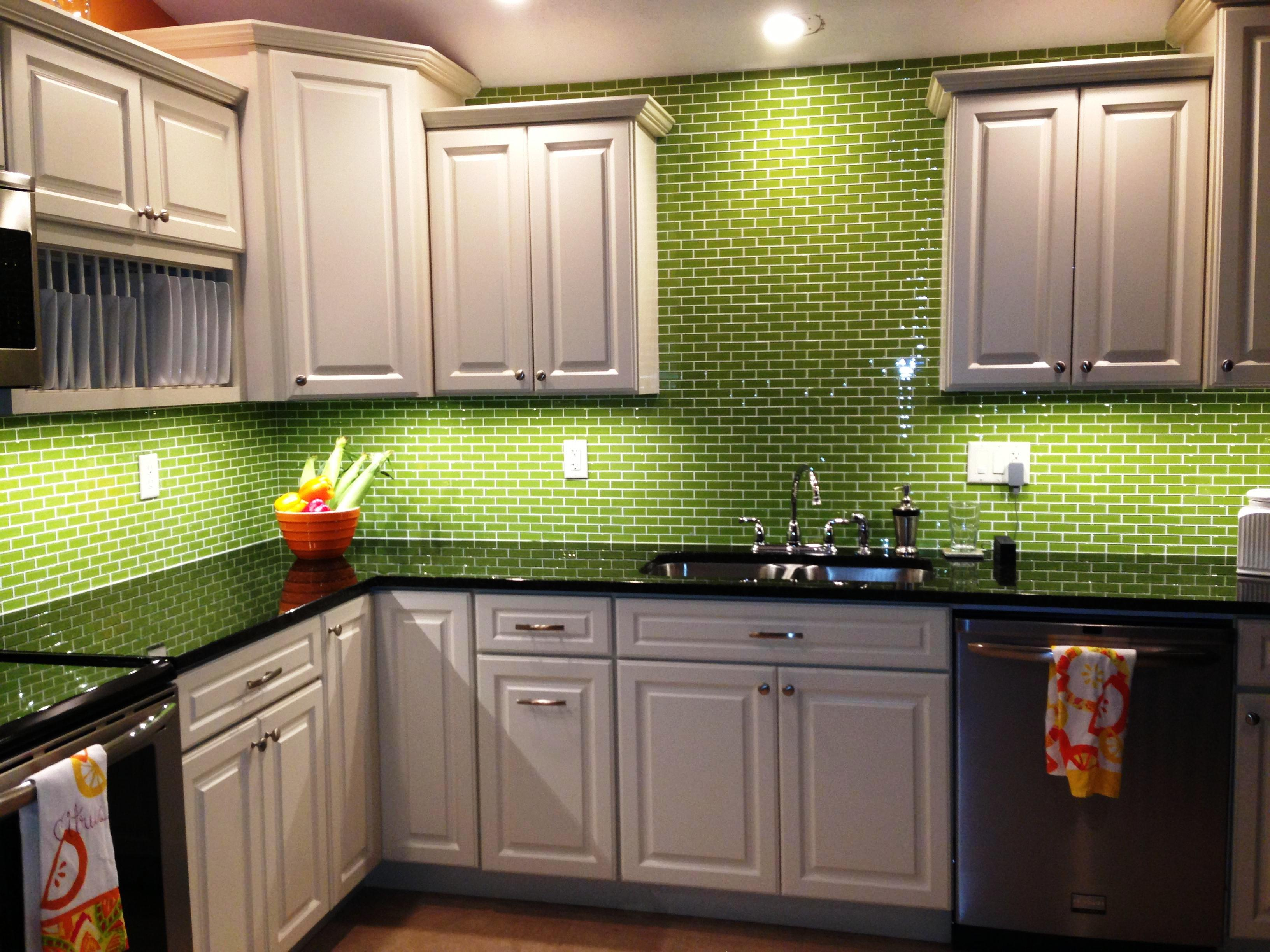 Image of: Green Kitchen Cabinets Painted