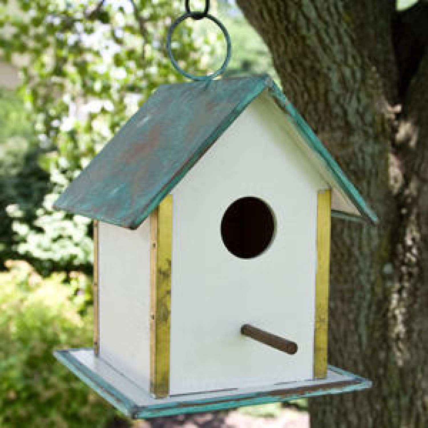Image of: Hanging Copper Roof Birdhouse