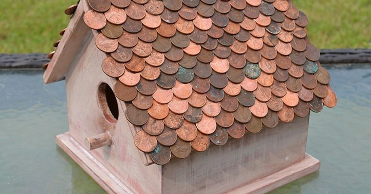 Image of: Penny Copper Roof Birdhouse