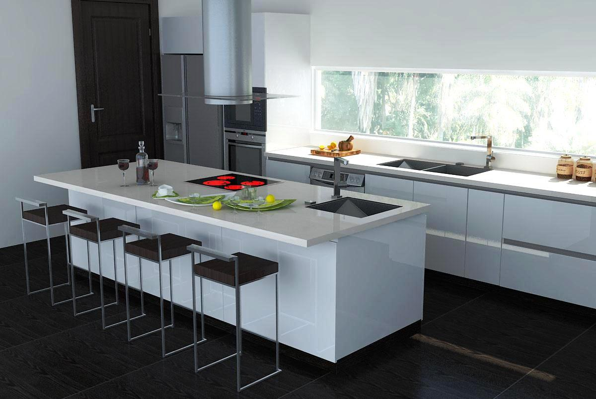 Image of: Red White Black Kitchens