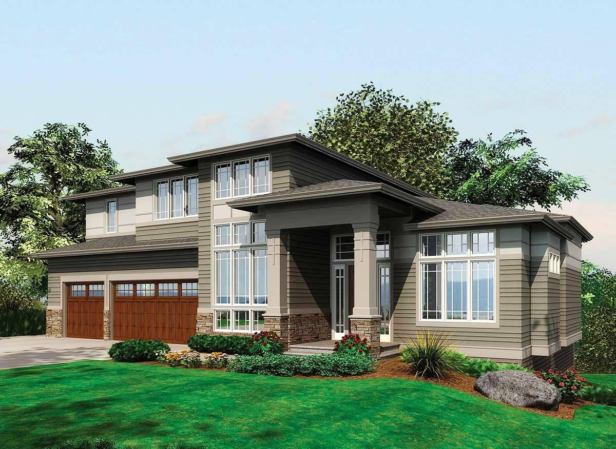 Image of: Single Story Modern House Plans