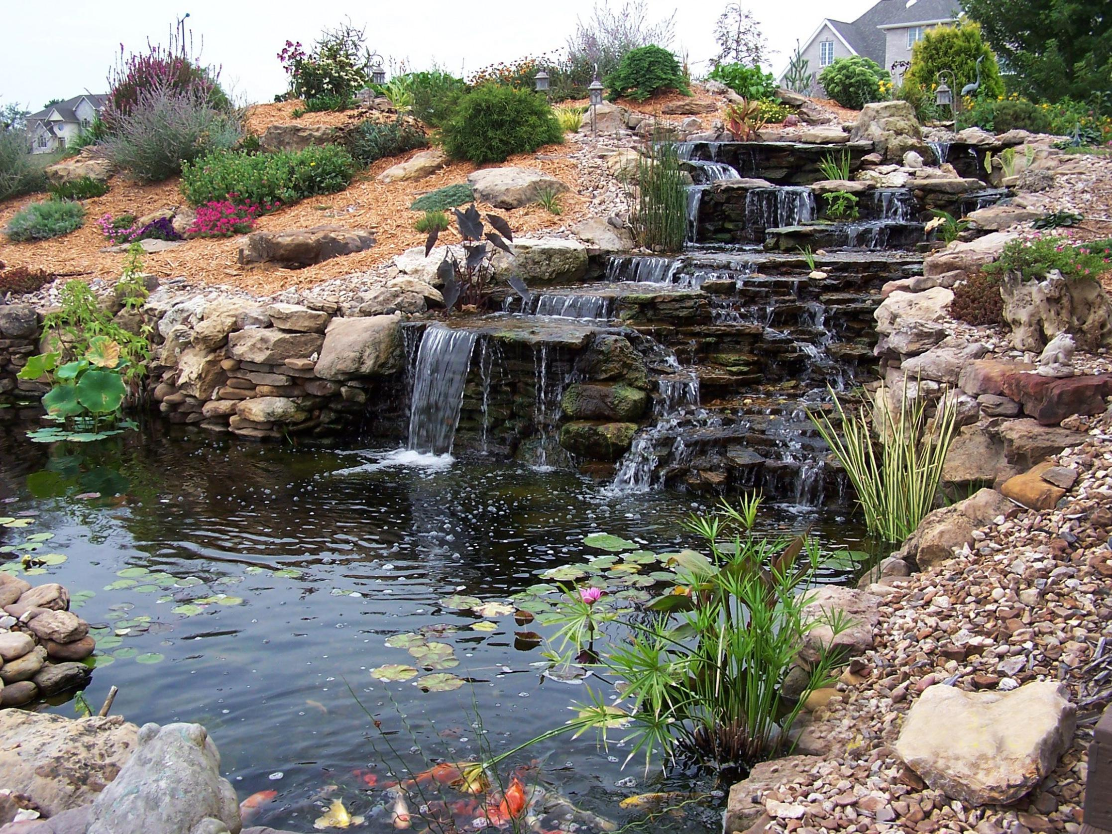 Image of: Backyard Water Features Waterfalls