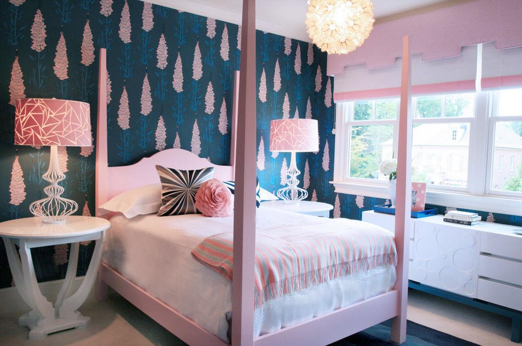 Image of: Blue And Pink Bedroom Wallpaper