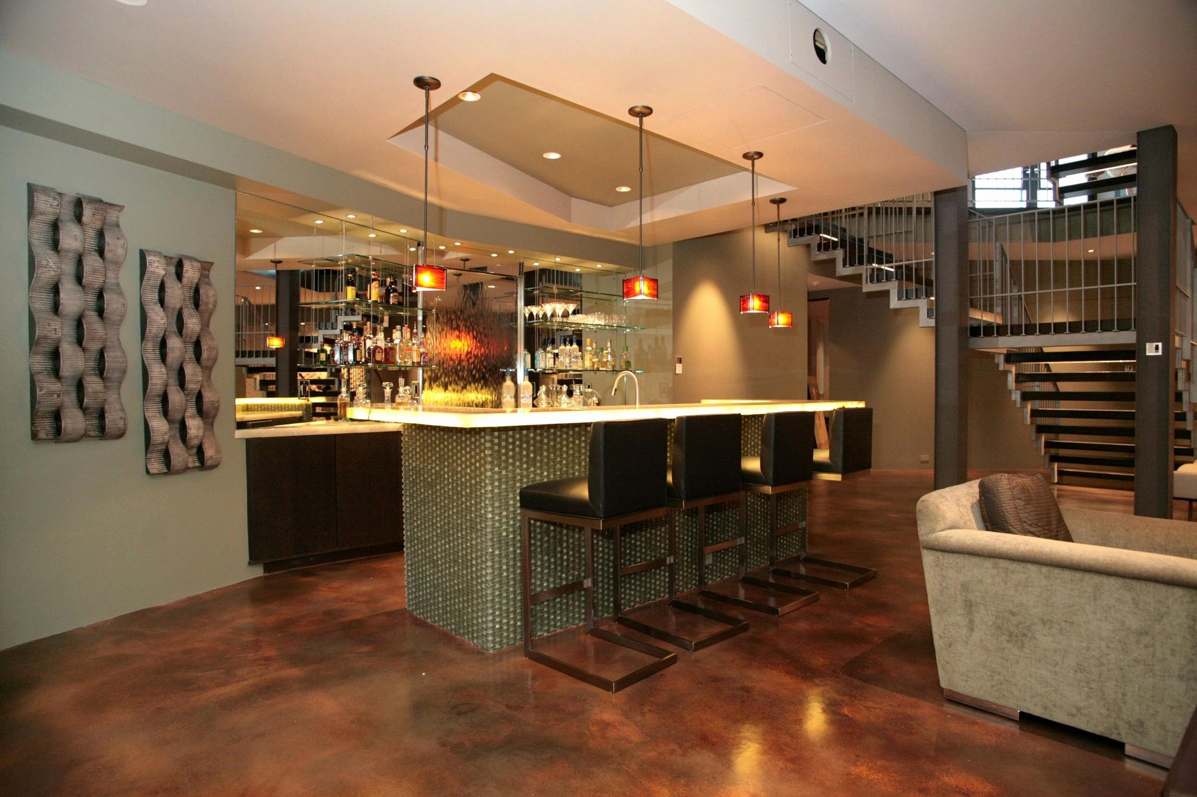 Image of: Designs For Basement Bars