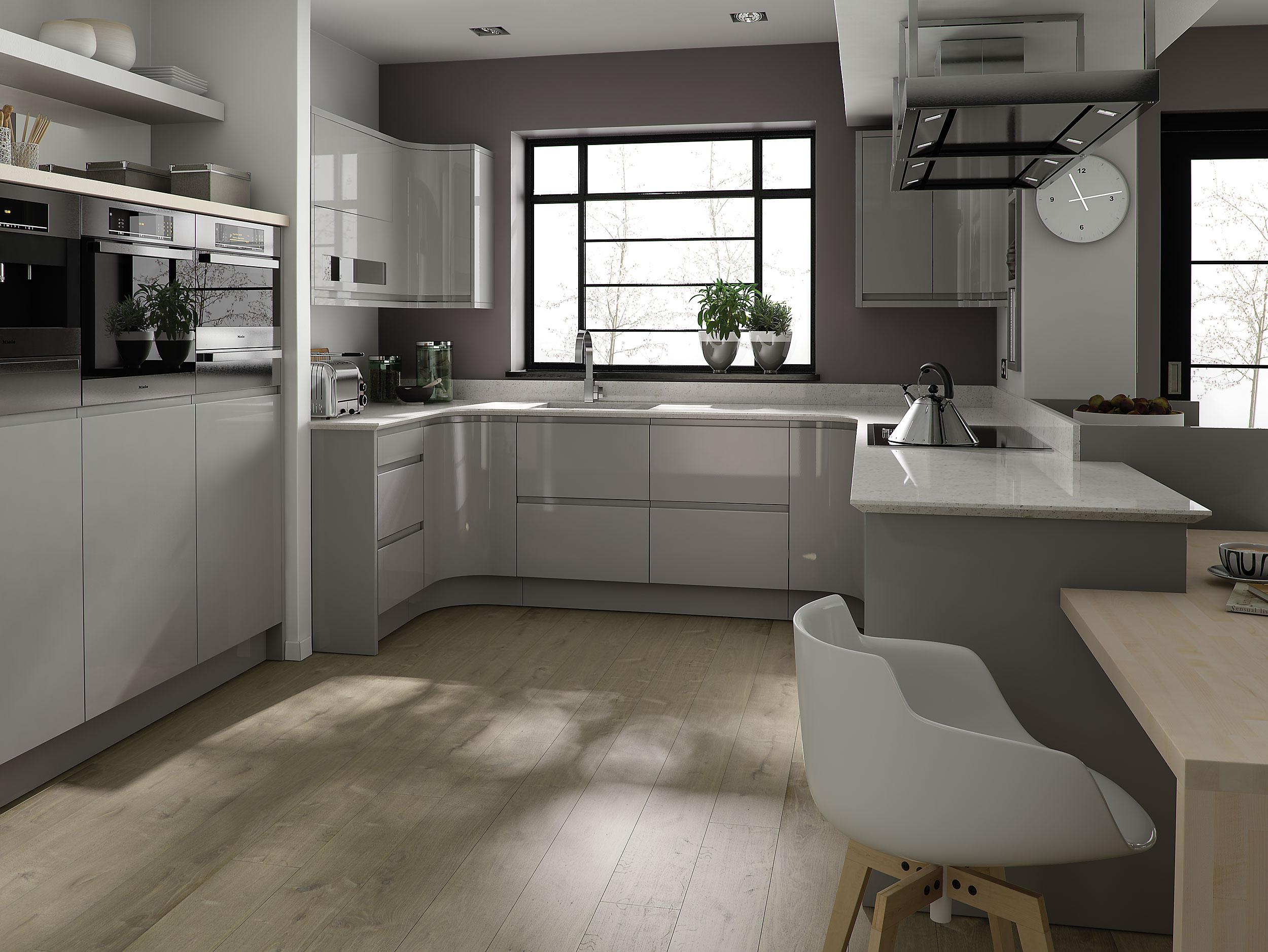 Image of: Grey And White Kitchen Table