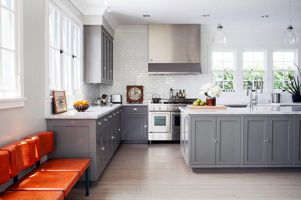 Image of: Grey And White Kitchens Small