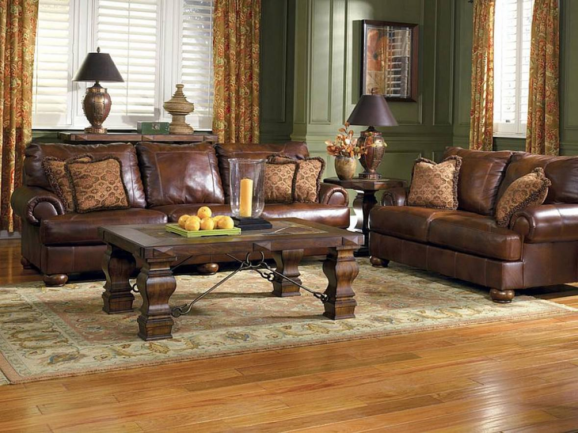 Image of: Living Room Color Ideas With Brown Leather Furniture