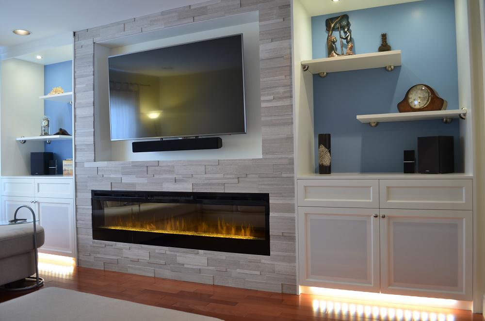 Image of: Wall Unit Modern Fireplace