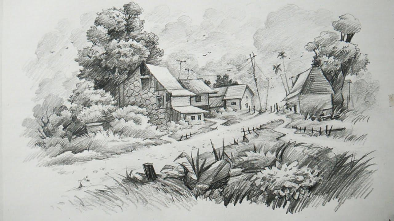 Image of: Best Houses Landscape Drawing