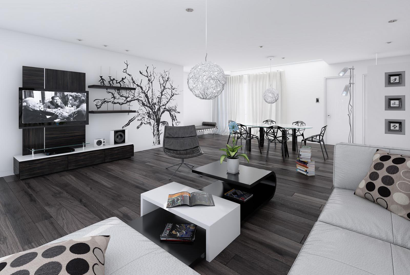 Image of: Black And White Living Room Ideas